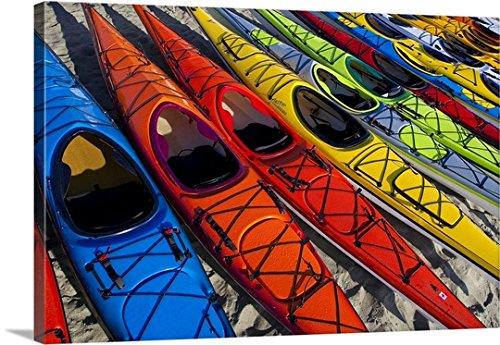Gary Luhm Premium Outdoor Canvas Wall Art Print entitled Array of kayaks at West Coast Sea Kayak Symposium,