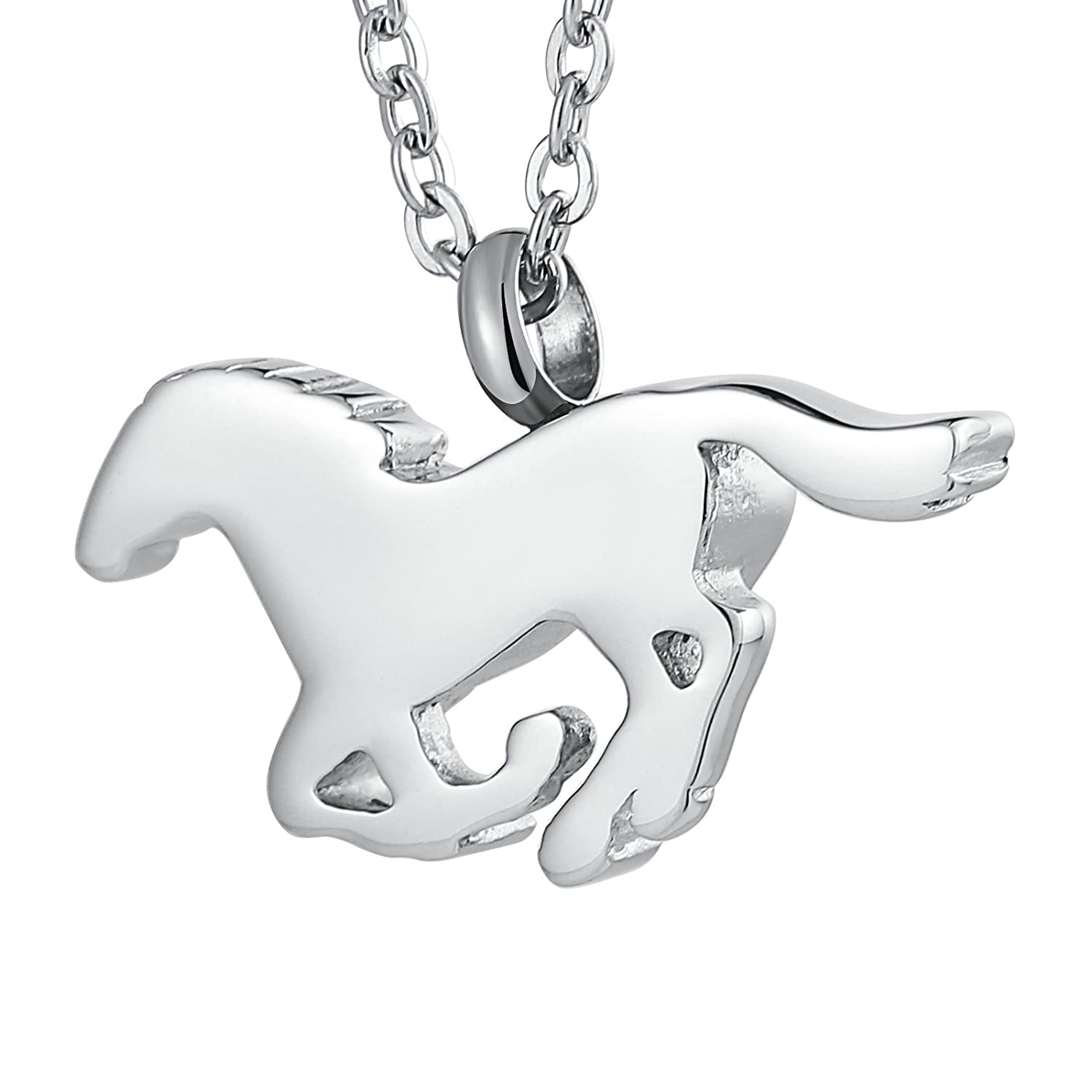 AMDXD Stainless Steel Ashes Pendant Urn Necklace Horse Necklace
