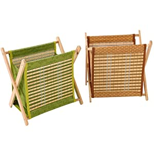Folding Magazine Rack in Fabric & Wood (Brown or Green) (Brown)