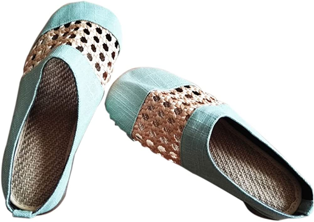 Meijunter Cotton Linen Hollow Sandals Slip-on Shoes Flats Chinese Boat Shoes Anti-Skid