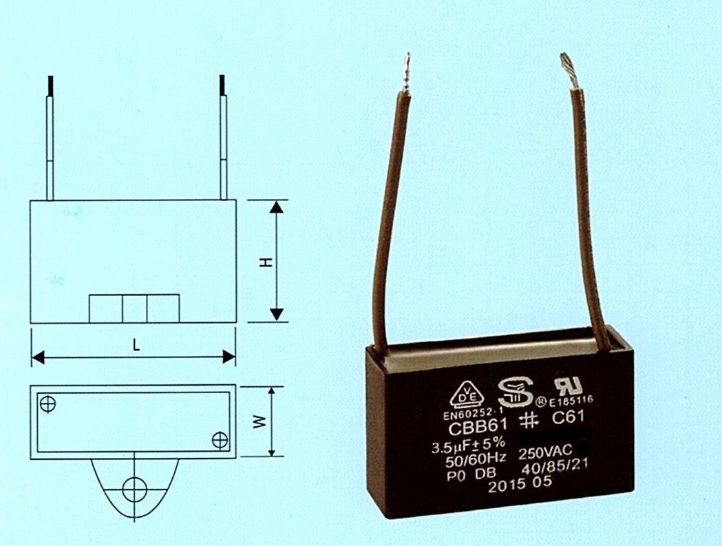 S.Y. Elec. CBB61 / C61 Fan Motor Capacitor 3.5uf 250VAC 2 Wire