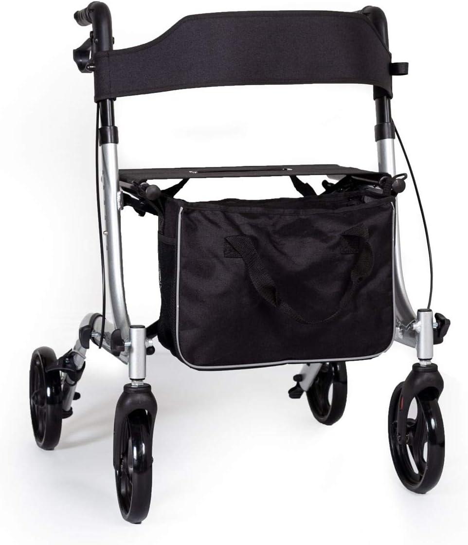 EC X FOLD andador plegable ligero con asiento y bolsa - elección de los colores (Plata)