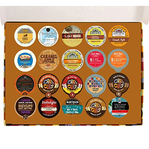 20 Count Coffee, Cappuccino, Hot Chocolate,Tea, Chai & Cider Deluxe Gift Sampler for Keurig K Cup Brewers