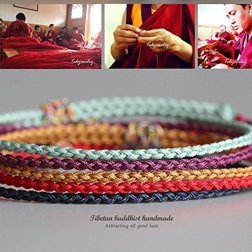 aebd75ec48 TALE Lucky Rope Bracelet Tibetan Buddhist Hand Braided Knots - Thin  Edition.