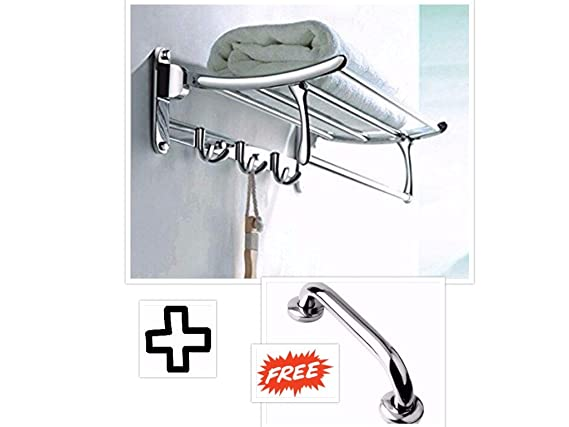 Fortune Stainless Steel Folding Towel Rack (24 inch) + Free Stainless Steel Grab Bar