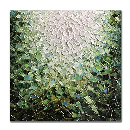 Zoinart 100% Hand Painted 30x30inch 3D Abstract Decorative Oil Paintings on Canvas Framed Wall Art Wood Inside Knife Paintings Wall Decorations for Living Room Bedroom Wall Decor Green Artwork