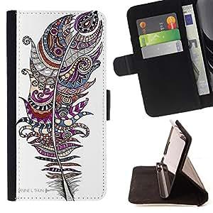 Super Marley Shop - Funda de piel cubierta de la carpeta Foilo con cierre magn¨¦tico FOR HTC Desire 820 D820 d820t- Aztec Vintage Feather
