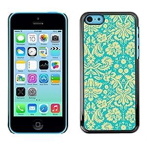 For Apple iPhone 5C Case , Yellow Vintage Retro Wallpaper Pattern - Diseño Patrón Teléfono Caso Cubierta Case Bumper Duro Protección Case Cover Funda