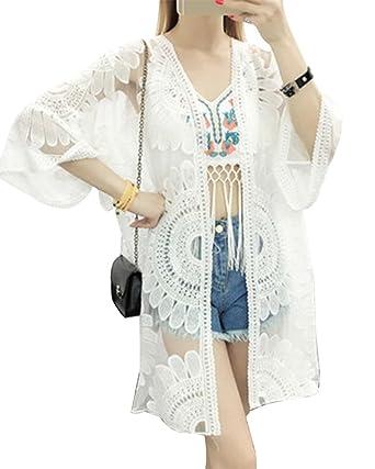 cfe81db2cdf152 LaoZan Spitze Quasten Hohle Kimono Cardigan Sommer Strand Cover Top Weiss