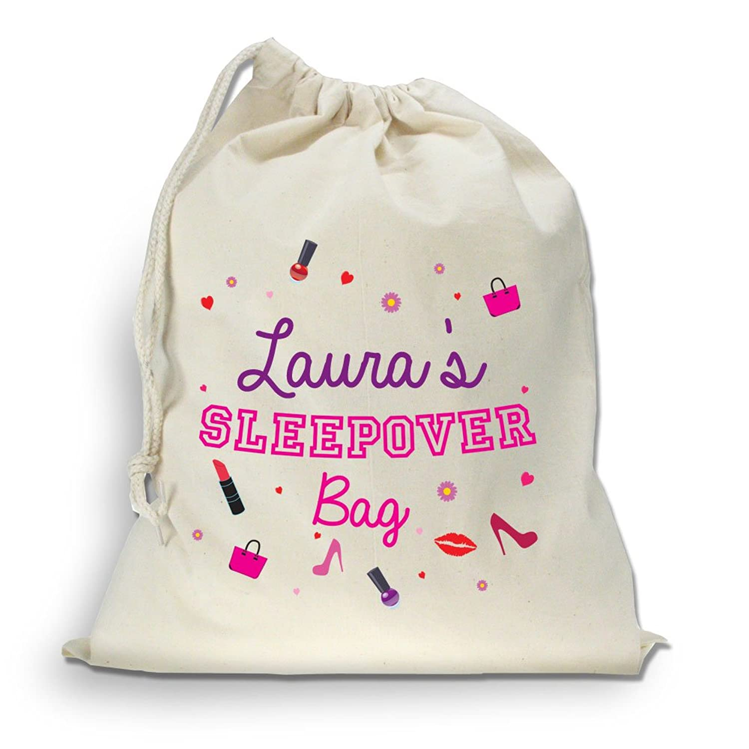 Personalised girls sleepover bag, girls overnight bag, drawstring ...