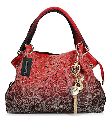 Greeniris Ladies Faux Leather Handbags Sequins Shoulder Bags Totes Bags for Women Red