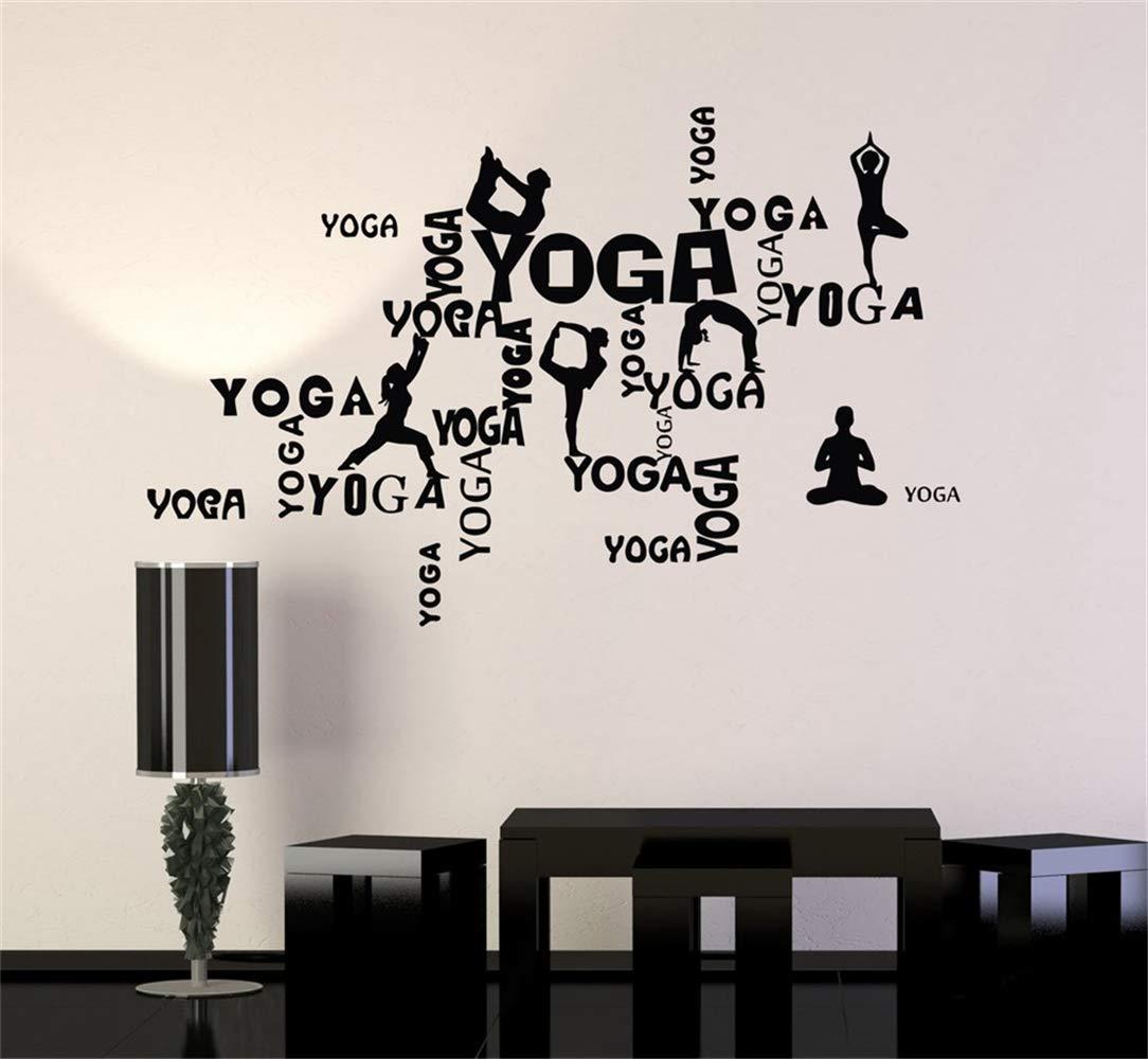 pegatinas de pared espejo Palabras de yoga y posturas de ...