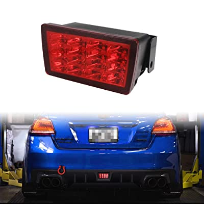 TurningMax Red Lens F1 Style LED Rear Fog Light Kit with Wire Harness and Mounting Bracket Fit for 2011-up Subaru WRX STi, Impreza or XV Crosstrek: Automotive