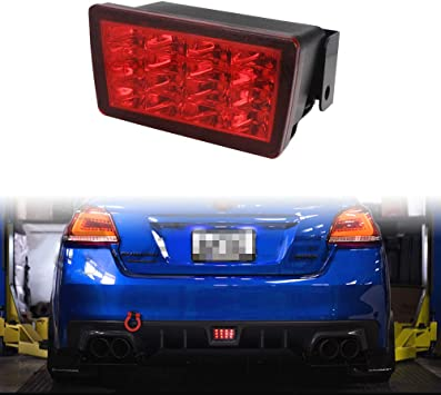 PGONE F1 Style Smoked Lens Red LED Rear Fog Lights Brake Lights Tail Lights For Subaru WRX STi XV Impreza or VX Crosstrek with Wire Harness and Mounting Bracket Red Lens