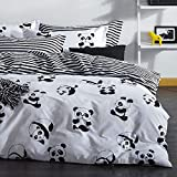 4 Pieces - Full Queen Size Bedding Duvet Cover Set, White and Black Panda Animal Patterns Design Prints,1 Duvet Cover,1 Bed Sheet, 2 Pillow Cases (Queen)