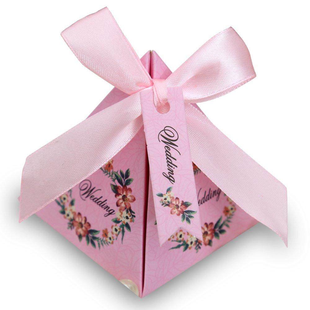 Amazon.com: Doris Home 100 pcs Floral Pyramid Wedding Favor Candy ...