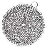 LauKingdom Cast Iron Cleaner- Round Anti-rust Stainless Steel Chainmail Scrubber with Corner Ring