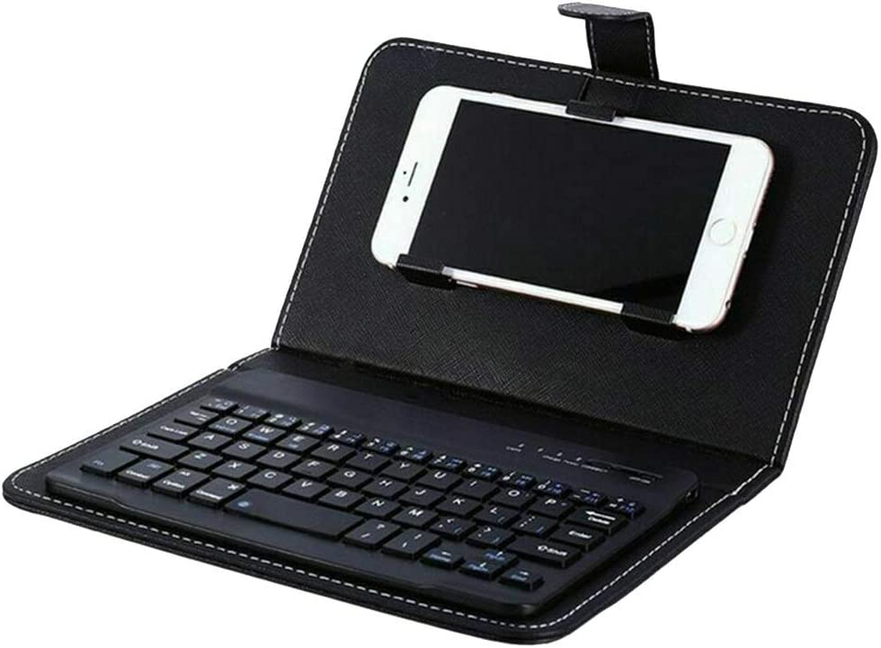 Reuvv Mini Teclado Bluetooth Inalámbrico Portátil Teclado con Funda de Piel para Smartphone Compatible con Todos iOS, Mac, iPad, iPhone, Smart TV Samsung Tabletas Teléfonos Windows - Negro