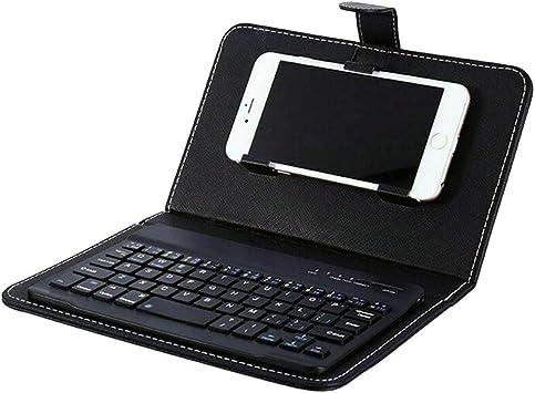 Reuvv Mini Teclado Bluetooth Inalámbrico Portátil Teclado con Funda de Piel para Smartphone Compatible con Todos iOS, Mac, iPad, iPhone, Smart TV Samsung Tabletas Teléfonos Windows: Amazon.es: Electrónica