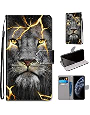 Miagon Full Body Case for iPhone 12 Mini,Colorful Pattern Design PU Leather Flip Wallet Case Cover with Magnetic Closure Stand Card Slot,Angry Lion