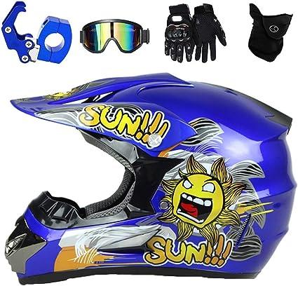 Qytk Casque De Motocross Enfant Dessin Anime Bleu Rayures Noires