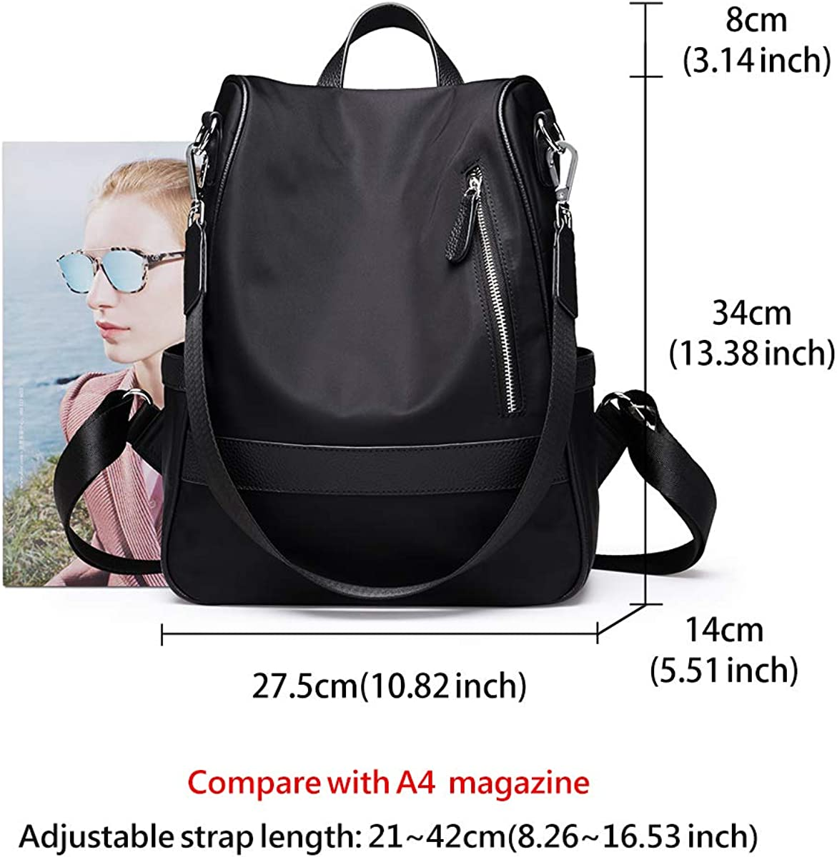 LAORENTOU Black Laptop Backpack
