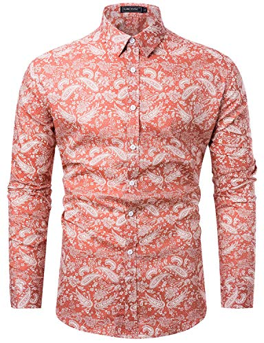 TUNEVUSE Men Floral Dress Shirts Long Sleeve Casual Button Down Shirts 100% Cotton Pink Paisley Print XX-Large