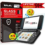 New Nintendo 2DS XL / 2DSLL Screen Protector (3xTop Glass + 4xBottom PET Protector), AnoKe Anti-Scratch Ultra-thin, Sensitive-Touch Tempered Glass Film Games Accessories Case For Nintendo Switch 3Pack