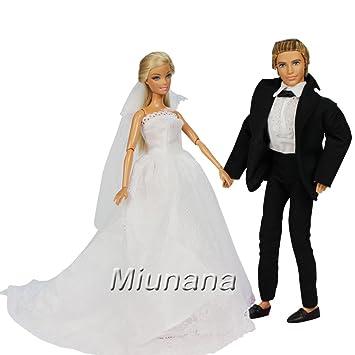 Miunana 1 Vestido de Novia con Velo Blanco Vestir Boda Ropa para Muñeca Barbie y 1