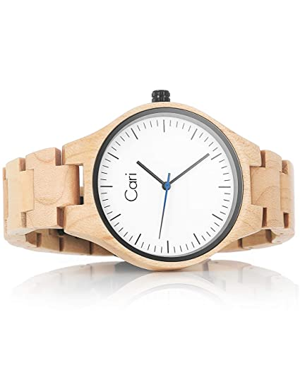 Cari Reloj de Madera para Mujer y Hombre con Movimiento Suizo y Cristal de Zafiro - Reloj Pulsera Marsella-011: Amazon.es: Relojes