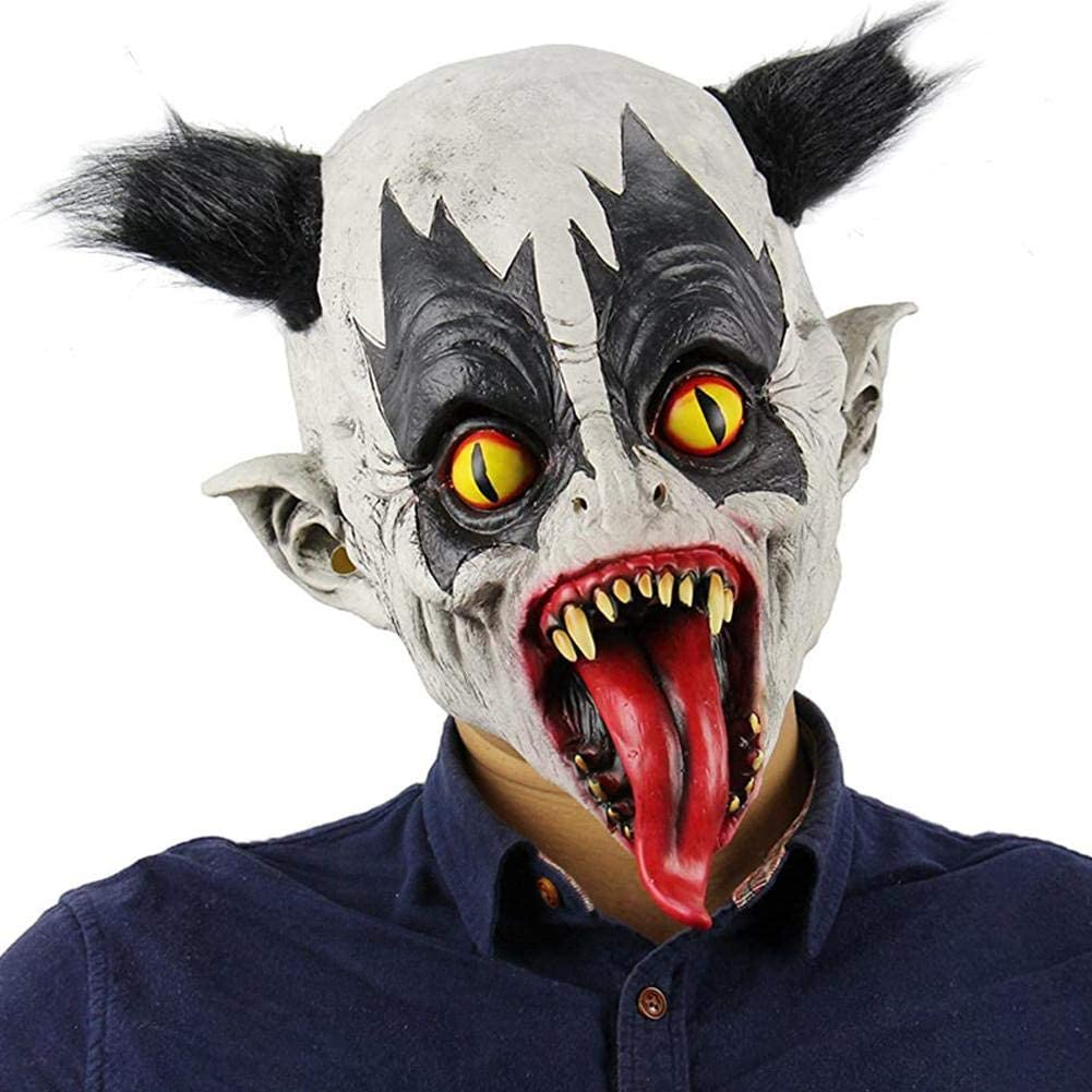 Máscara de Halloween, Scary Bat Animal Máscara de látex Elegante Sombrero de murciélago mutante Accesorios de cosplay Disfraz Máscara de resina de murciélago para festival de música electrónica