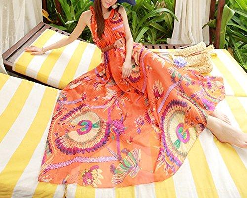 Mujeres de Talla Grande Sin Mangas Impreso Vestido Largo de Bohemia Naranja