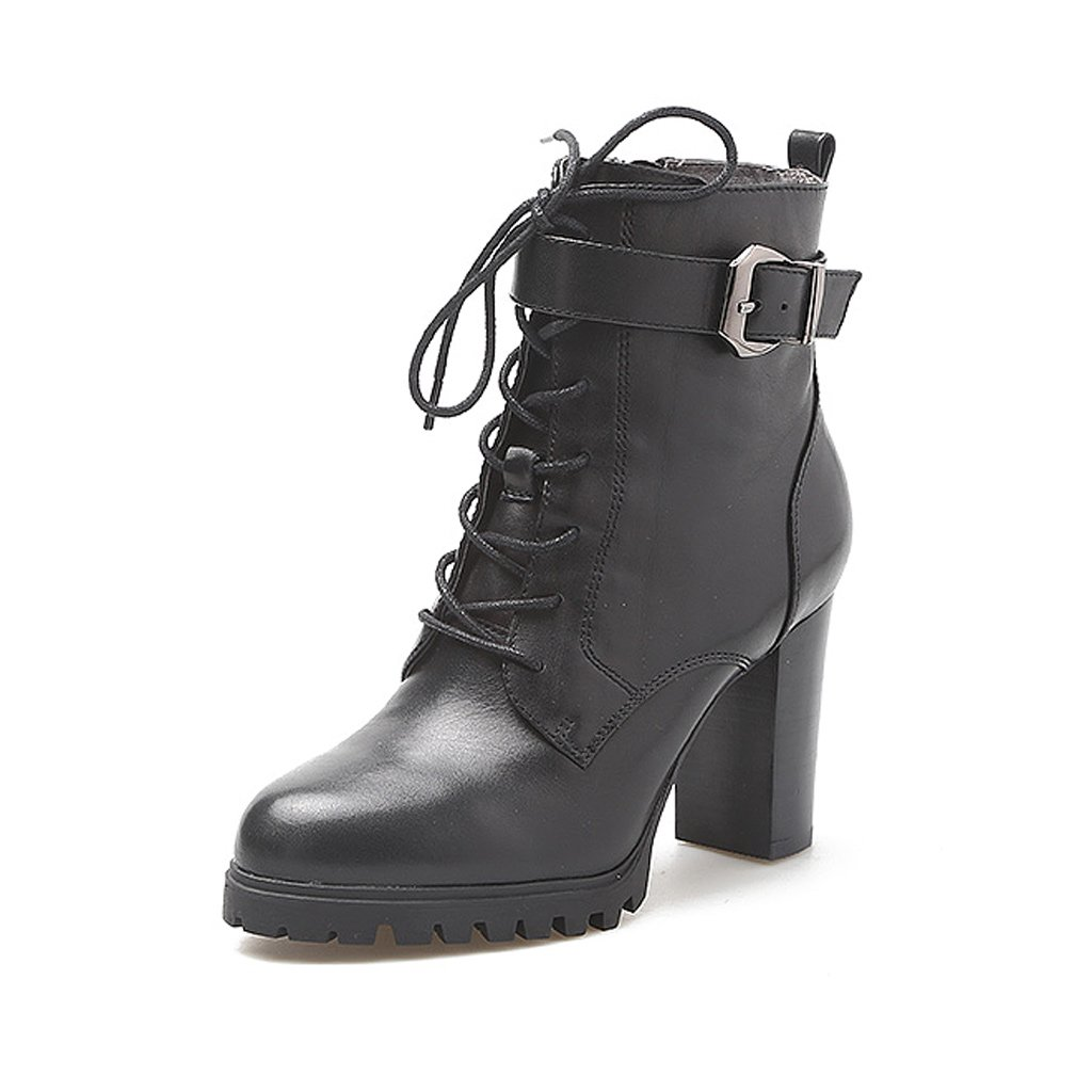 Woman Martin boots autumn and winter leather high heels straps with boots ( Color : Black , Size : US:6.5UK:5.5EUR:38 )