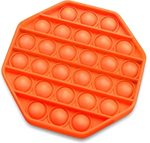 Pop Fidget Toys Push Popping Bubble Sensory Toy for Autistic Children, Silicon Pop Fidget Toy Stress Toys for Adults with AD, ADHD, Anxiety Relief Items Octagon Orange