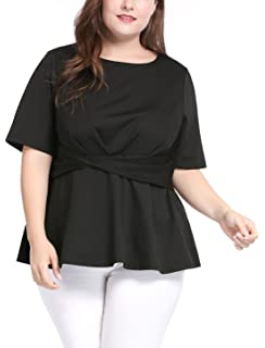 a71fd63c302 luvamia Women s Plus Size Casual Short Sleeve Lace up Peplum Tops ...