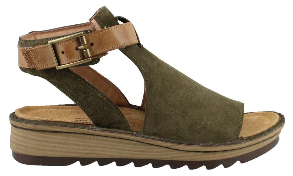 Naot Footwear Women's Verbena B073ZJVHDQ 35 M EU|Brushed Oily Olive Suede/Vintage Camel Leather