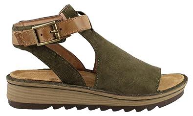Naot Footwear Women's Verbena Brushed Oily Olive Suede/Vintage Camel  Leather 35 ...