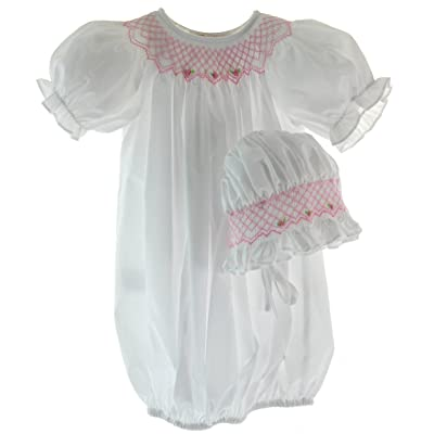 Baby Girls White Gown Pink Smocking & Bonnet Set