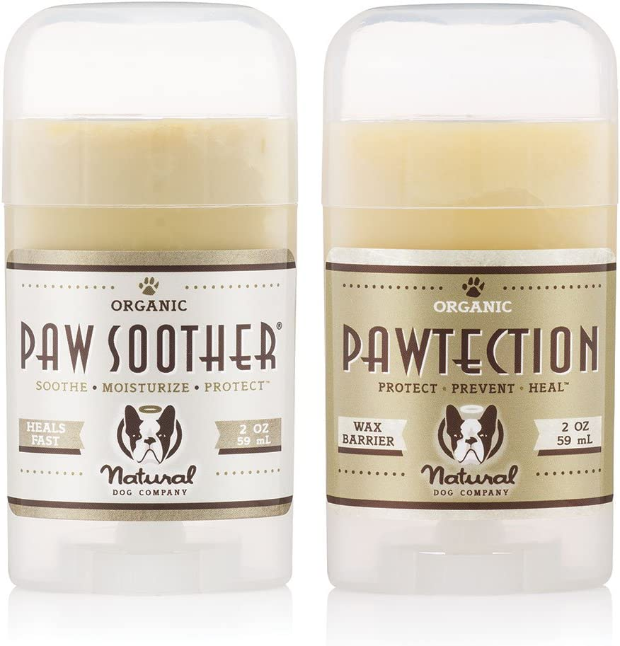 Natural Dog Company - PAWDICURE BUNDLE - Protects and Heals Dry Cracked Dog Paw Pads - Paw Soother 2 oz Stick + PawTection 2 oz Stick - Organic, All-Natural Balms