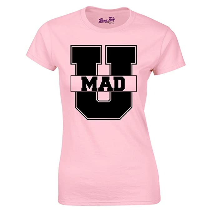 Bang Tidy Clothing Womens U Mad Hipster Slogan Retro American College Fashion T Shirt Pink S