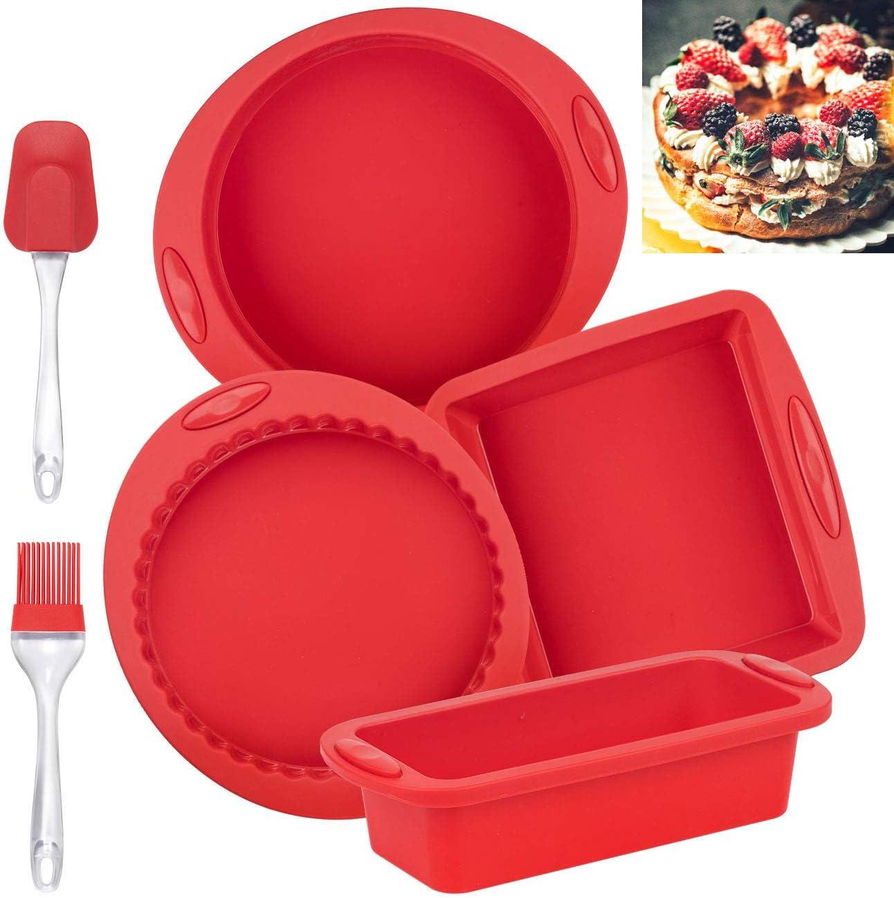 COSYLAND Kastenform Brotbackform Kuchenform Set Silikon für Kuchen und Brote Rot