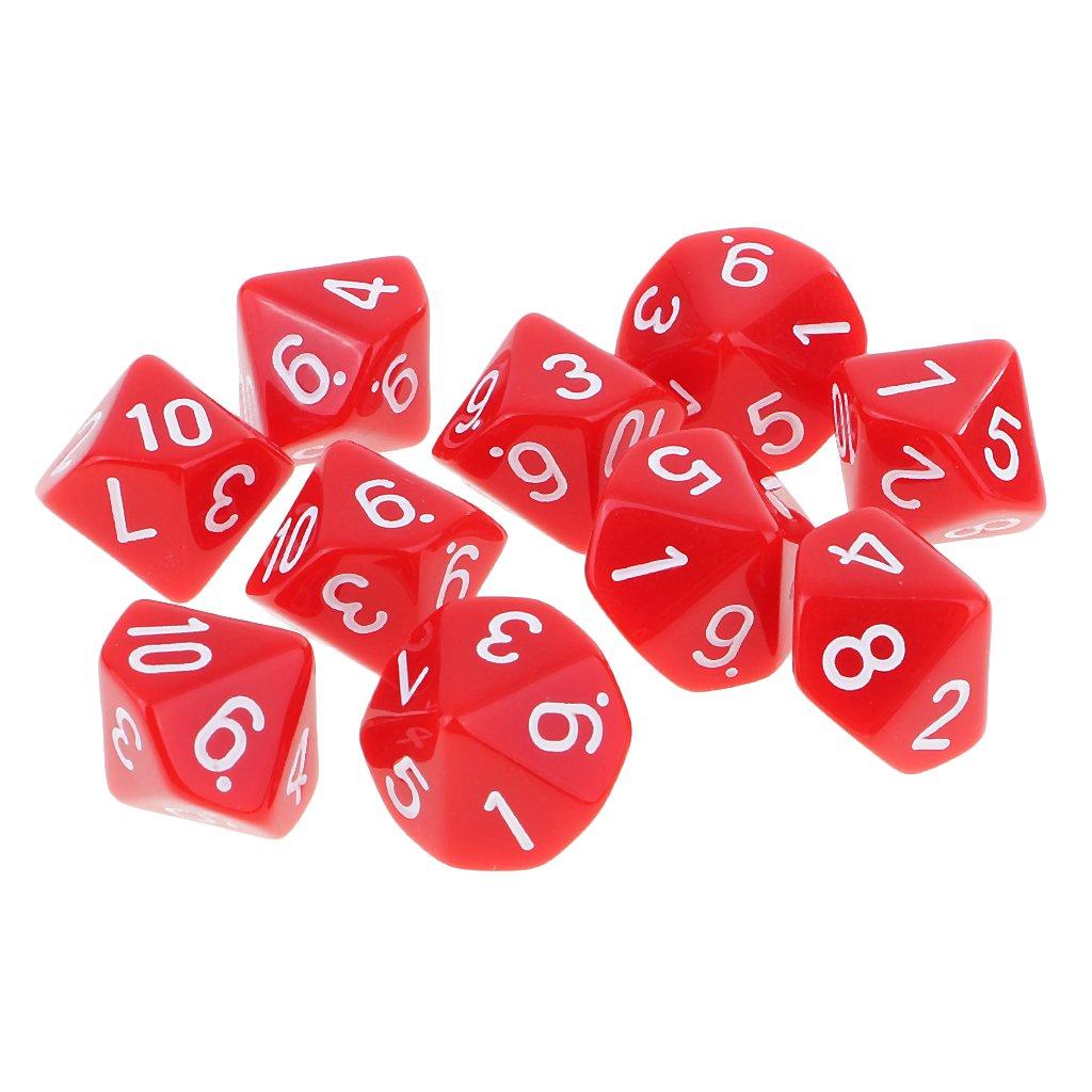 MagiDeal Lot 10pcs Dés Polyédriques Nombres Dice D10 16mm pour D&D TRPG Jeux de Table - Rouge