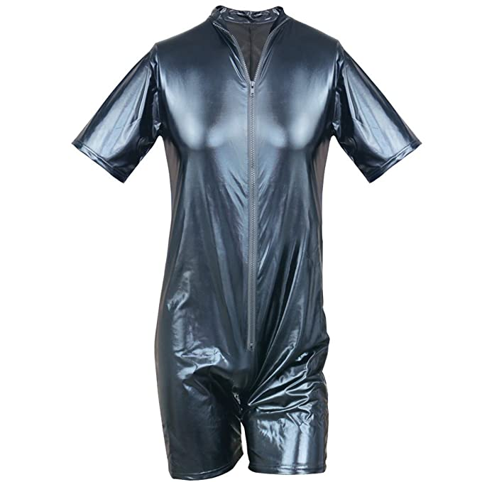 3ea2bd9a0215 Amazon.com  ACSUSS Men s Sexy Faux Leather Bodysuit Wet Look Kinky Zipper  Catsuit Clubwear  Clothing