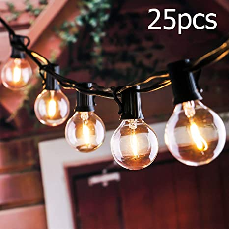 Cadena de Bombillas, tronisky Luces de Cadena G40 Guirnaldas Luminosas de Exterior y Interiores Guirnalda