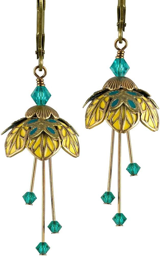 NoMonet - Pendientes de hada de flores pintadas a mano, diseño de la reina de las hadas de Titania en oro, turquesa y amarillo
