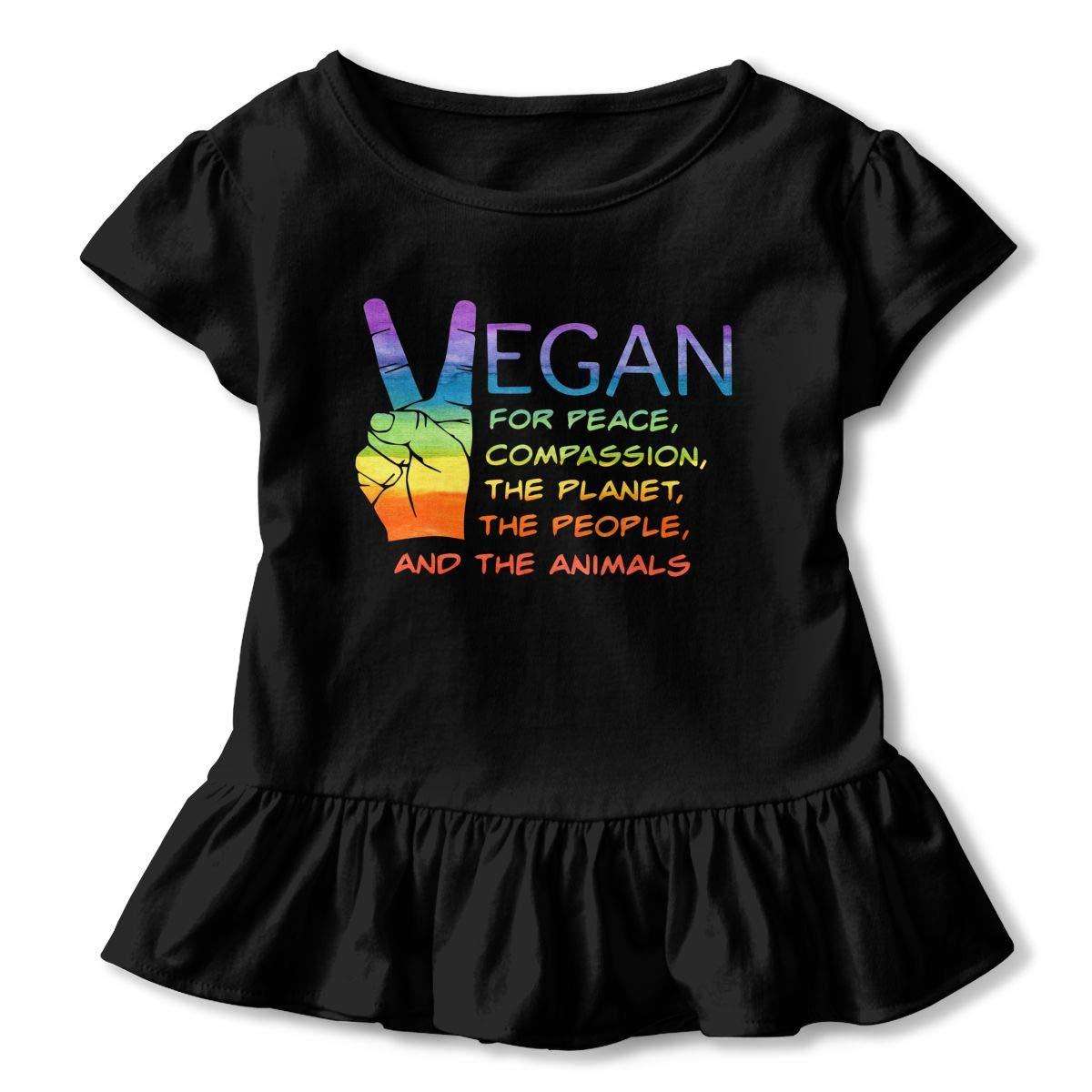 Cheng Jian Bo Vegan Compassion Animals Toddler Girls T Shirt Kids Cotton Short Sleeve Ruffle Tee