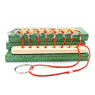 STOBOK Corda Anello Puzzle Puzzle Giocattolo in Legno Intelligenza Rompicapo Mind Game Puzzle Giocattoli educativi (Rope Ring Puzzles)