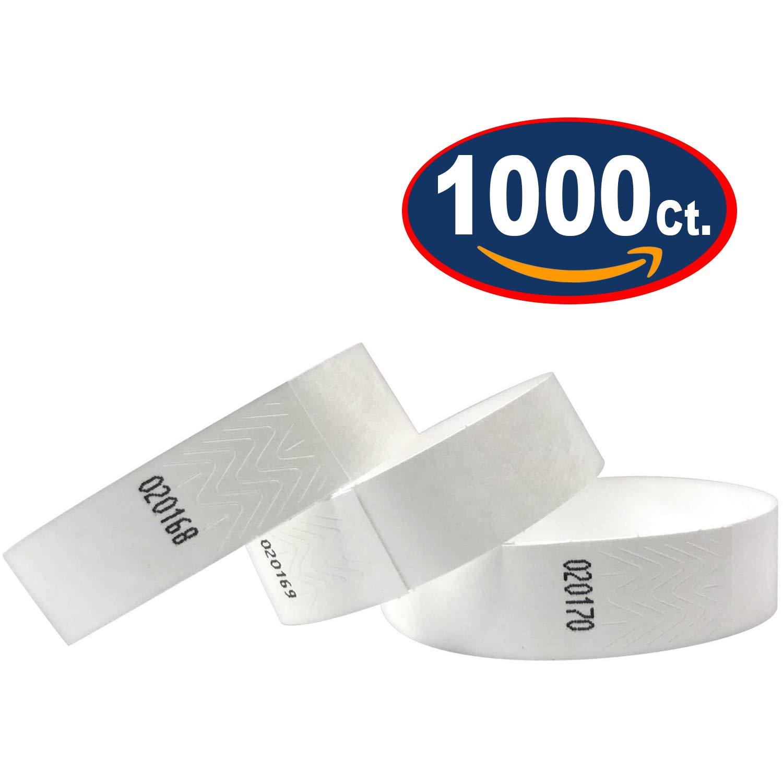 1000/piezas color plata 1000 Pack pulseras /év/énementiels Pulseras de Identificaci/ón Tyvek 19/mm