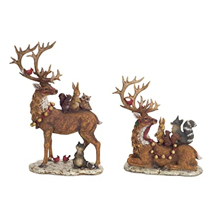 Melrose Set of 2 Brown Deer with Woodland Friends Christmas Tabletop Figures 17