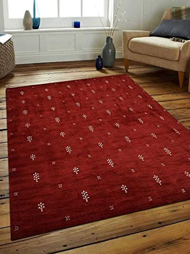 Rugsotic Carpets Hand Knotted Gabbeh Wool 8'x11' Area Rug Contemporary Red White L00501
